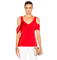 Prabal Gurung Crepe Back Satin Draped Shoulder Blouse in Red