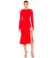 Prabal Gurung Crepe Separating Yoke Dress in Red