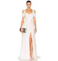 Prabal Gurung Embroidered Cold Shoulder Gown in Neutrals