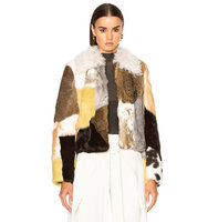 Proenza Schouler Rabbit Patchwork Fur Jacket in Neutrals Abstract