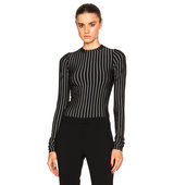 Protagonist Extended Sleeve Bodysuit in Black Stripes