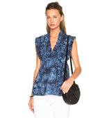 Thakoon Ruffle Top in Blue Ombre Tie Dye