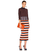 Victoria Beckham Compact Wool Striped Deconstructed Dress in Neutrals Stripes
