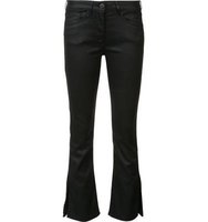 3x1 Wax Detail Flared Cropped Jeans