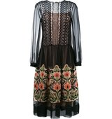 Alberta Ferretti Floral Embroidered Sheer Dress