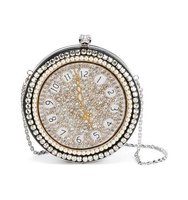 Alexander Mcqueen Clock Embroidered Round Skull Clutch