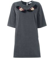 Au Jour Le Jour Embroidered Bird T Shirt Dress