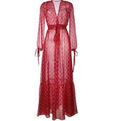 Au Jour Le Jour Sheer Dots Print Long Dress