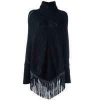Babjades Cable Knit Fringed Poncho