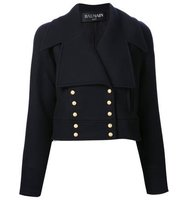 Balmain Cropped Bottom Fastening Peacoat