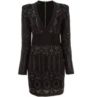 Balmain Embroidered Pattern Fitted Dress