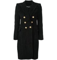 Balmain Peaked Lapel Button Up Coat