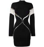 Balmain Sheer Panel Fitted Dress