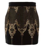Balmain Studded Baroque Pattern Skirt