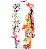 Blumarine Floral Print Mock Neck Dress