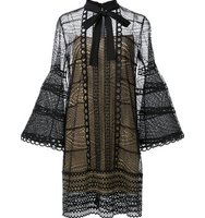 Carolina Herrera Embroidered Bell Sleeve Dress