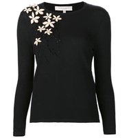 Carolina Herrera Standing Floral Embroidery Pullover