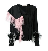 Christopher Kane Feather Embellished Asymmetric Blouse