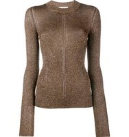 Christopher Kane Metallic Knit Crew Neck Sweater