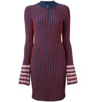 Emilio Pucci Zipped Collar Striped Dress