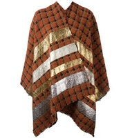 Ermanno Gallamini Metallic Grey Striped Poncho