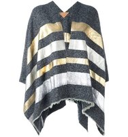 Ermanno Gallamini Metallic Grey Stripes Poncho