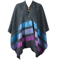 Ermanno Gallamini Metallic Striped Poncho
