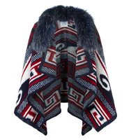 Forte Couture Geometric Pattern Knit Poncho