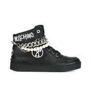 Moschino Chain And Pearl Embellished Hi Top Sneakers