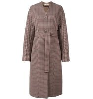 Nina Ricci Collarless Check Detail Coat