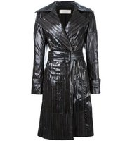 Nina Ricci Stitched Detail Leather Coat