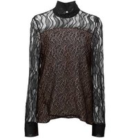 Prabal Gurung Mock Neck Lace Blouse