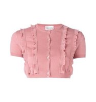 Red Valentino Ruffle Trim Cropped Cardigan