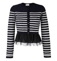 Red Valentino Striped Ruffle Hem Cardigan