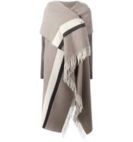 Semicouture Fringed Asymmetric Knit Poncho