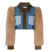 Sonia Rykiel Fox Fur Sleeve Denim Jacket