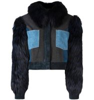 Sonia Rykiel Fox Fur Trimmed Denim Jacket