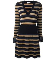 Sonia Rykiel Striped V Neck Dress