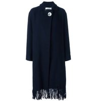 Victoria Beckham Fringed Wrap Button Coat