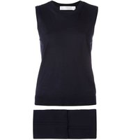 Victoria Beckham Knitted Tank Top And Cropped Trousers Two Piece Set