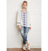Forever21 Embroidered Baja Hoodie Cream Multi