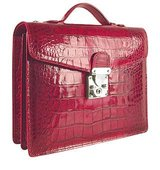 LAPA Cherry Croco embossed Double Gusset Compact Briefcase
