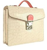 LAPA Ivory Pink Croco embossed Double Gusset Mini Briefcase