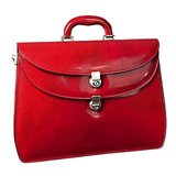 LAPA Womens Red Leather Briefcase
