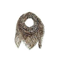 Roberto Cavalli Brown Animal Print Cashmere and Silk Shawl
