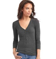 Gap Cozy Modal Ribbed Henley Charcoal