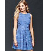 Gap Inverted Pleat Fit and Flare Stripe Dress Blue stripe