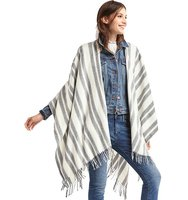 Gap Lightweight Dual Stripe Fringe Poncho Grey stripe