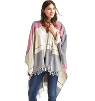 Gap Lightweight Mix Stripe Fringe Poncho Heather grey stripe