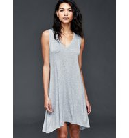 Gap V Neck Stripe Swing Dress Heather grey stripe